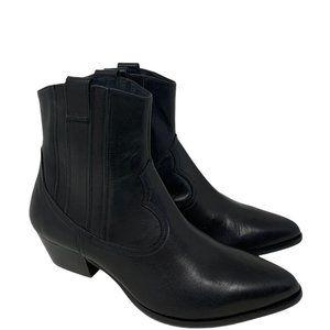 New L.K. Bennett Jessie Black Leather Ankle Boots Size 39 US 8.5